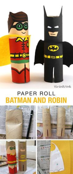 Paper Roll Batman and Robin kids activity using toilet paper or paper towel tubes