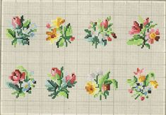 Patterns for cross stitch flowers. Different sizes, styles, and colors to add to your projects! Mini Cross Stitch, Cross Stitch Rose, Cross Stitch Borders, Cross Stitch Flowers, Cross Stitch Charts, Cross Stitch Designs, Cross Stitching, Cross Stitch Embroidery, Hand Embroidery