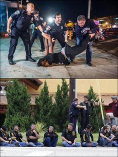 Cops abusing and posing with a black man who was protesting against racism and…