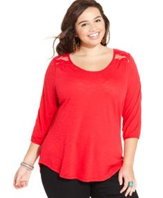 Lucky Brand Plus Size Lace-Back Top