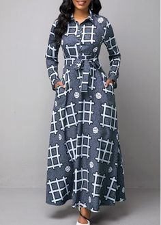 Women'S Multi Color Geometric Print Long Sleeve Maxi Dress Turndown Collar High Waisted Cocktail Party Dress By Rosewe Turndown Collar Geometric Long African Dresses, Latest African Fashion Dresses, African Print Dresses, African Print Fashion, Women's Fashion Dresses, Fashion Clothes, Korean Fashion, Ankara Fashion, African Dresses Online