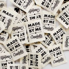 Buy woven clothing labels to sew in your sewing projects. Woven fabric labels for garments, high quality with end fold.