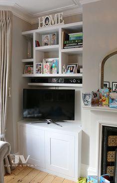 23 Alcove Shelving Ideas for your Living room | JV Carpentry Alcove Bookshelves, Alcove Shelving, Recessed Shelves, Wall Shelving Units, Shelving Design, Shelving Ideas, Book Shelves, Storage Ideas, Floating Shelves