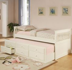La Salle Twin Captain's Bed With Trundle And Storage Drawers In White (new)