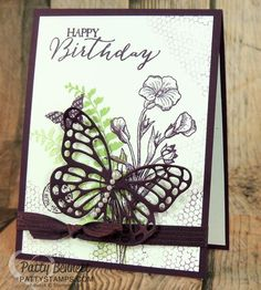 Butterflies Basics stamp set and Big Shot thinlit die.. such a gorgeous combo on this birthday card!  By Patty Bennett #stampinup