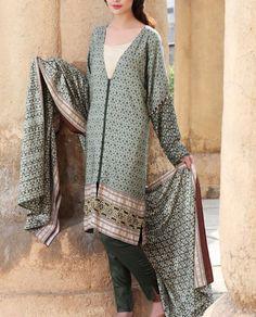 Buy Grey/Teal Green Printed Viscose Linen Dress by Nishat 2015.