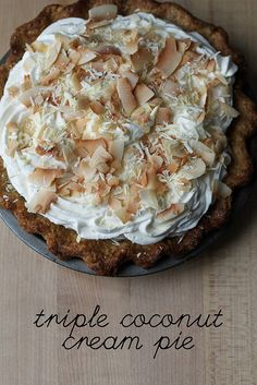 Dahlia Triple Coconut Cream Pie - a whisk and a spoon Funnel Cakes, Biscotti, Dessert Crepes, Delicious Desserts, Yummy Food, Fried Ice Cream, Mousse, Puff Pastry Recipes, Brownie