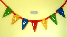 rainbow bunting room decor wooden bunting by CalicoBespokeGifts