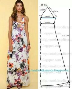 Easy sewing projects for beach cover-ups Moldes Moda por Medida by LiZzie. summer dress, summer dress pattern, how to sew a summer dress blouse sundress Simple halter maxi dress pattern- though I would modify the top and add a more modest chest plus cap s Dress Sewing Patterns, Clothing Patterns, Pattern Sewing, Free Pattern, Summer Dress Patterns, Simple Pattern, Skirt Patterns, Pattern Dress, Pattern Drafting