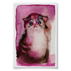 Baby Kitten Poster - watercolor gifts style unique ideas diy