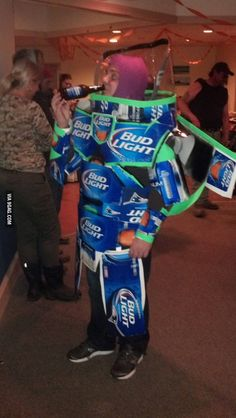 Bud Light Year! @Amanda Snelson Snelson Snelson Snelson Snelson Gilchrist Do I foresee your costume for next year?? haha Pop Culture Halloween Costume, Cool Halloween Costumes, Happy Halloween, Halloween Ideas, Funny Halloween, Adult Halloween, Halloween Stuff, Halloween Party, Awesome Costumes