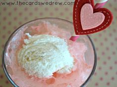 Be My Valentine Ice Cream Float ...mix together strawberry soda and vanilla ice cream. Easy and YUMMY!