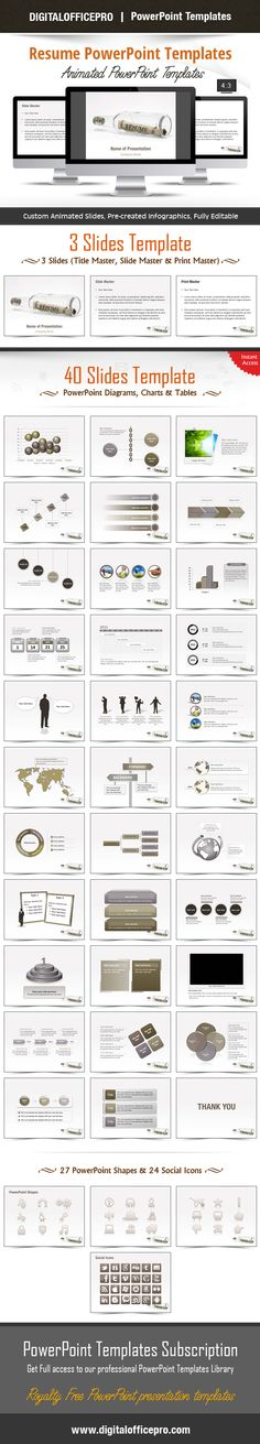 Impress and Engage your audience with Resume PowerPoint Template and Resume PowerPoint Backgrounds from DigitalOfficePro. Each template comes with a set of PowerPoint Diagrams, Charts & Shapes and are available for instant download.