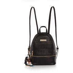 River Island Black laser cut backpack ($38) ❤ liked on Polyvore featuring bags, backpacks, black, zipper bag, rucksack bag, river island, tassel bag and zip handle bags