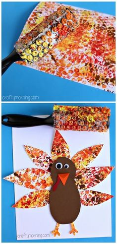 Bubble Wrap Printed Turkey Art Project #Thanksgiving craft for kids | CraftyMorning.com by ophelia