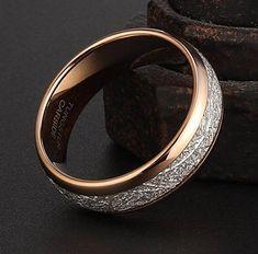 8mm Rose Gold Tungsten Carbide Ring Vintage Meteorite Pattern