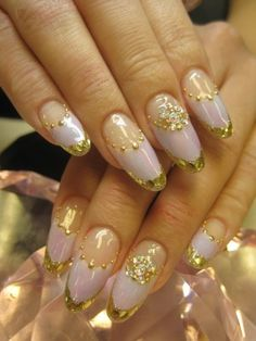 princess nails, gold and pink nails, japanese nail art, audrey kitching