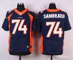 Men's Denver Broncos #74 Ty Sambrailo Navy Blue Alternate NFL Nike Elite Jersey