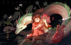 Chihiro with her bouquet of pink flowers and Haku in his dragon form in the Kohaku River Hayao Miyazaki, Studio Ghibli Art, Studio Ghibli Movies, Film Anime, Anime Art, Illustration Book, Dragons, Chihiro Y Haku, Japanese Animated Movies