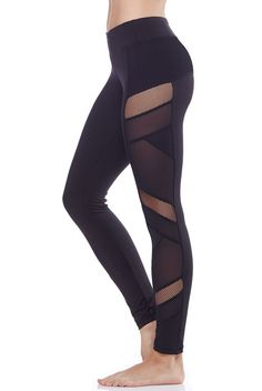 Electric Yoga Sexy Mesh Panel Legging in Black