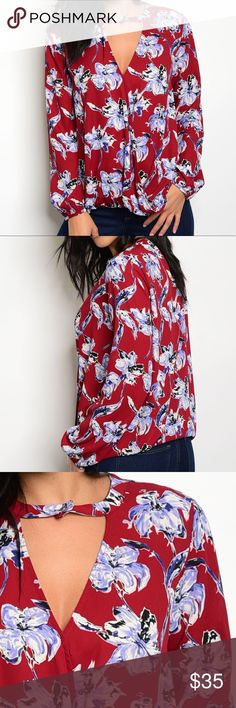 ✨NEW✨Wine Maroon Lilac Floral Blouse Long billow sleeve blouse with a triangle cut-out and a single button closure. Poly. Tops Blouses
