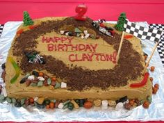 D& Delights: Clayton& Motorcycle Party - Party Ideas - Fifth Birthday Cake, Bike Birthday Parties, Dirt Bike Birthday, Birthday Ideas, Birthday Boys, Birthday Cakes, Just Cakes, Cakes And More, Dirt Bike Cakes