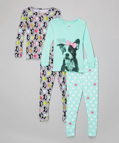 Love this Aqua & Gray 'Selfie' Dog Pajama Set - Infant & Toddler on #zulily! #zulilyfinds