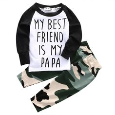 "Baby Boy's ""My Best Friend Is My Papa"" Camo Outfit Set"