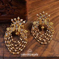 Jewelry Design Earrings, Gold Earrings Designs, Gold Jewellery Design, Gems Jewelry, Bridal Jewelry, Beaded Jewelry, Jewelry Box, Jewelery, Stud Earrings
