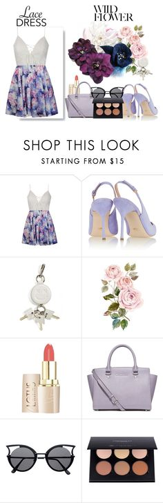"""wild flower"" by jeesxx ❤ liked on Polyvore featuring Ally Fashion, Sergio Rossi, Alexander Wang, MICHAEL Michael Kors, floral, Flowers, dress, lace and floralprint"