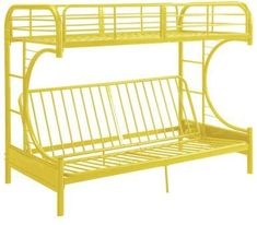 ACME Furniture ACME Eclipse Twin/Full/Futon Bunk Bed, Black. Yellow furnishings. #futton #bunkbed #loftbed #afflnk