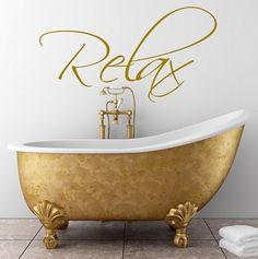 Wall Art for Bathroom Decor New Bathroom Wall Art Sticker by Wall Art Quotes & Designs by Gemma Duffy Bathroom Wall Decals, Bathroom Wall Stickers, Wall Stickers Quotes, Wall Art Quotes, Bathroom Quotes, Ideal Bathrooms, Relax, Duffy, Tape Wall