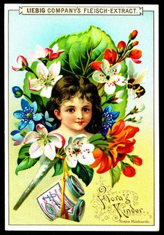 Flora's Children (No. 3) trading card issued by Liebig Extract of Beef Company.