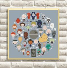 Star Wars Cross Stitch Pattern, Mini Pixel People Counted Cross Stitch Chart, Han Solo, Pr. Leia, PDF Instant Download
