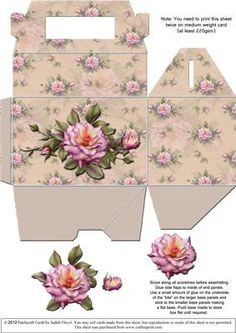 "Gable top box Pink Roses 2 on Craftsuprint designed by Judith Flavel - A great gift box for a small gift, with a pretty floral background and an optional decoupage rose to add extra dimension. The box itself measures 11.5 x 7.5 x 7.5 cms (4� x 3 x 3 inches), with a handy carry handle. It is very easy to make and it folds flat for storage until it is needed. PLEASE NOTE that you need to print this sheet TWICE to make one box. To see all my designs in this series, just type ""gable-top box""…"