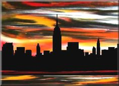 Sunrise Sunset Buffalo New York | New York City art print -Modern sunrise sunset orange black art, New ...