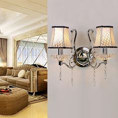 80W Modern Wall Light with Chandelier Feature Arm & 2 Pleated Fabric Shades in Crystal Plate Design – LightSuperDeal.com