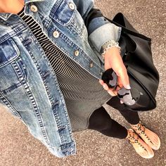 IG @mrscasual <click through to shop this look> denim jacket. Black and white stripe long tee. Jcrew leggings. Rockstud sandals. Black raybans. Tote bag.