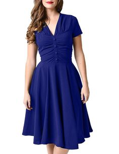 GownTown Womens Dresses V-neck 1950s Vintage Dresses Stretchy Swing Dresses *** Discover this special product, click the image : Women clothing