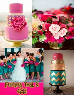 fushia and teal fuschia wedding gold wedding theme wedding 2015 wedding trends