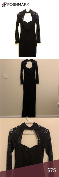 93803201d6ef Black long sleeve Prom/Evening Dress/Gown sz small Worn once size small  prom dress long sleeve lace on sleeves and down side of dress Windsor  Dresses Prom