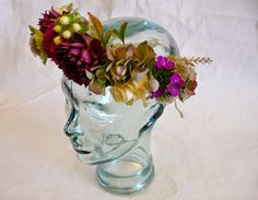 Flower head wreath lush bohemian autumn bridal hair flowers www.labellumflowers.com