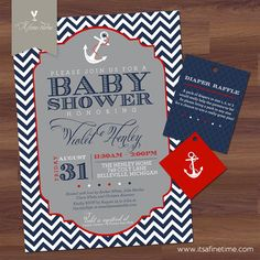 Baby Boy Shower Invitation Suite with Tags  by ItsAFineTime, $26.50