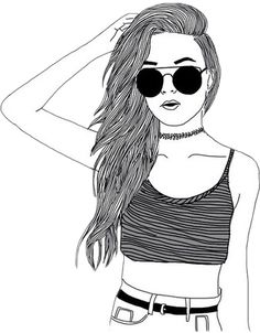 Girl drawings: Art girl drawing We Heart It Tumblr Girl Drawing, Tumblr Drawings, Girl Drawing Sketches, Girly Drawings, Girl Sketch, Pencil Art Drawings, Sketches Of Girls, Drawings Of Girls, Drawing Ideas