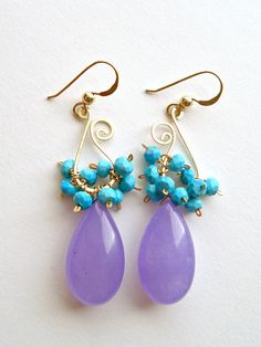 Lavender Aqua Cluster Hoops, Paisley Earrings, Sleeping Beauty Turquoise, Purple Turquiose Dangle Earrings, Lavender Turquoise Cluster