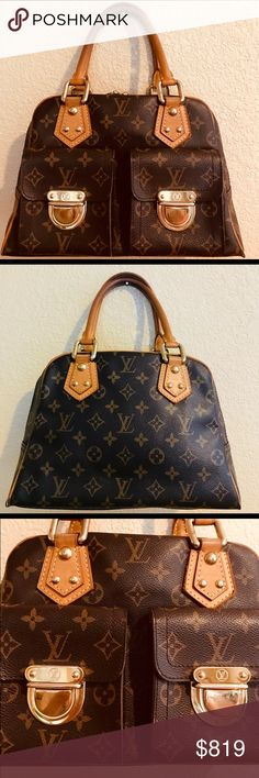 Louis Vuitton Manhattan Gently Loved Fabulous cond Louis Vuitton Manhattan Gently Loved this is the fashionista bag on the go a must have addition to your wardrobe at half the retailers price which sadly now is close to two thousand dollars  Hardware some light scratches  Interior some fade no staining one light spot in photos No odors  Zipper works well  Clips all clip well still    from a pet free smoke free home happy poshing cheers Louis Vuitton Bags Satchels