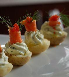 Pupus: Smoked salmon and potato with caviar