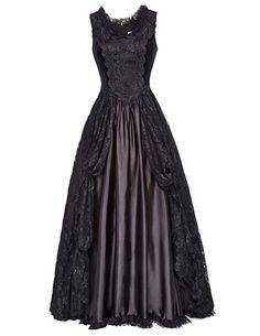 Satin Kleid Schwarz Sommerkleid Damen Elegant Partykleid Mittelalter Steampunk Kleid Cocktailkleid Festkleid Prom Kleid M BP378-1
