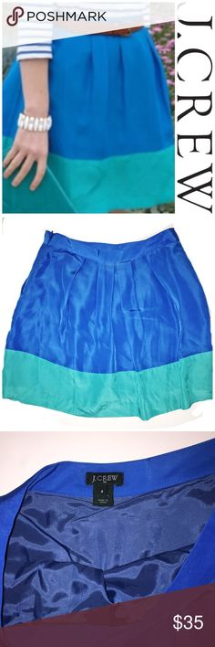 "J crew colorblock skirt Perfect condition j crew colorblock skirt. 14"" waist by 17"" length. All measurements taken laying flat. J. Crew Skirts Circle & Skater"