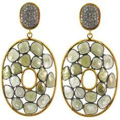 17.56 Ct Diamond Pave Dangle Earrings 14 K Gold 925 Sterling Silver Fine Jewelry #Handmade